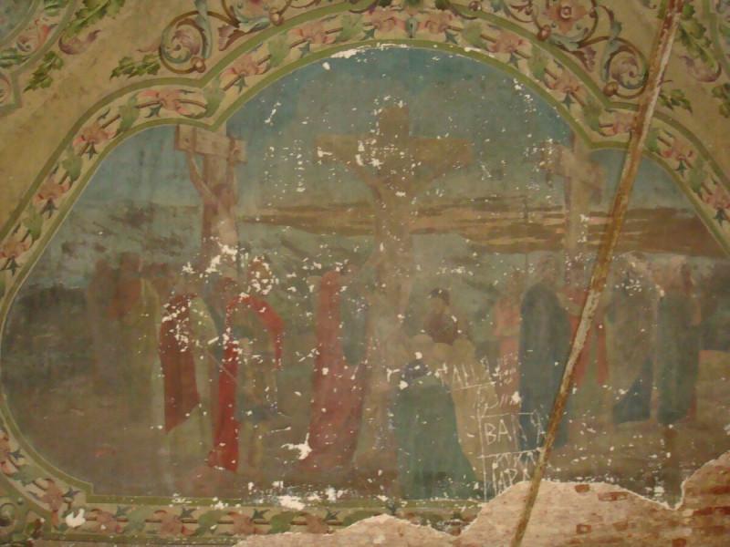 Уцелевшие фрески. Интерьер церкви Богоявления Господня (с.Рябиново, Кировская область)