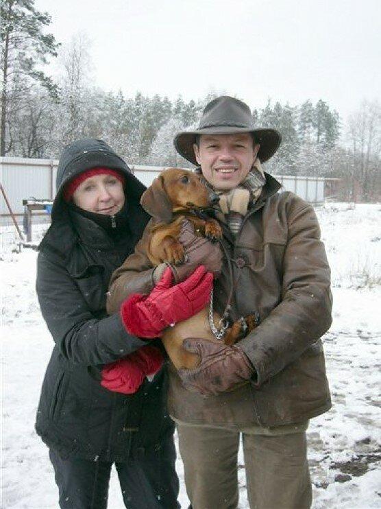 Наталья Акимова и Игорь Скляр со своим любимцем.