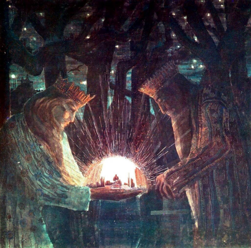 Чурленис. Сказка о королях.  Мужчина и женщина вместе создают светлый мир.