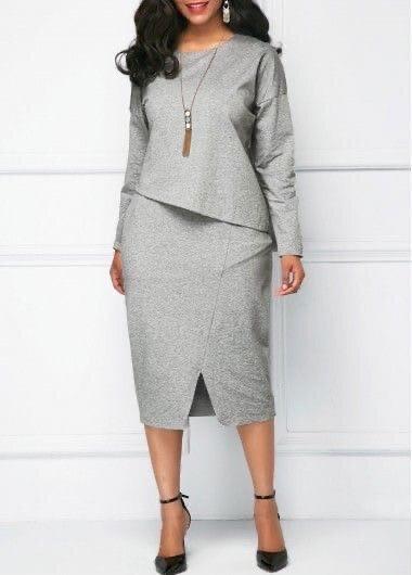 Отличный вариант однотонного серого костюма для офиса и прогулок.