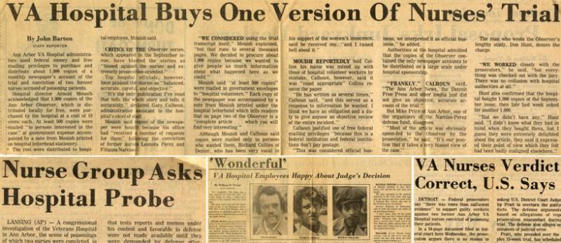 С середины 1976 г в американских средствах массовой информации развернулась компания в защиту Перез и Нарсисо.   Освобождение Филипины Нарсисо и Леонор Перез из-под стражи под залог подавалось как триумф справедливости и здравого смысла. Дамочки, явно действовашие по подсказке неких кукловодов, перешли в контрнаступление.  Они приняли участие в большом количестве разного рода демонстраций в собственную защиту. Мероприятия эти широко освещались средствами массовой информации - ну ещё бы! - такой инфоповод. Медсёстры с удовольствием давали интервью, хватались за микрофон, носили транспаранты и вообще деятельно торговали лицом.  К обеим приехали родители и их встреча в аэропорту тоже явилась темой для местных ТВ, газет и радиостанций.