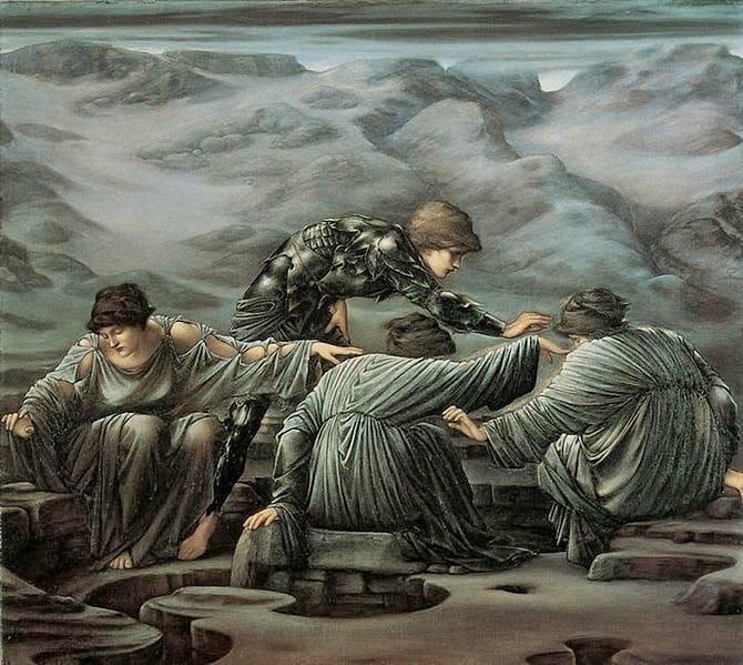 """Эдвард Бёрн-Джонс - """"Грайи и Персей"""" (1892)"""