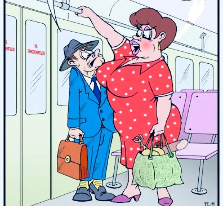 Анекдот: Час-пик! В переполненном автобусе женщина говорит мужчине: «вы чего это трётесь об меня»?