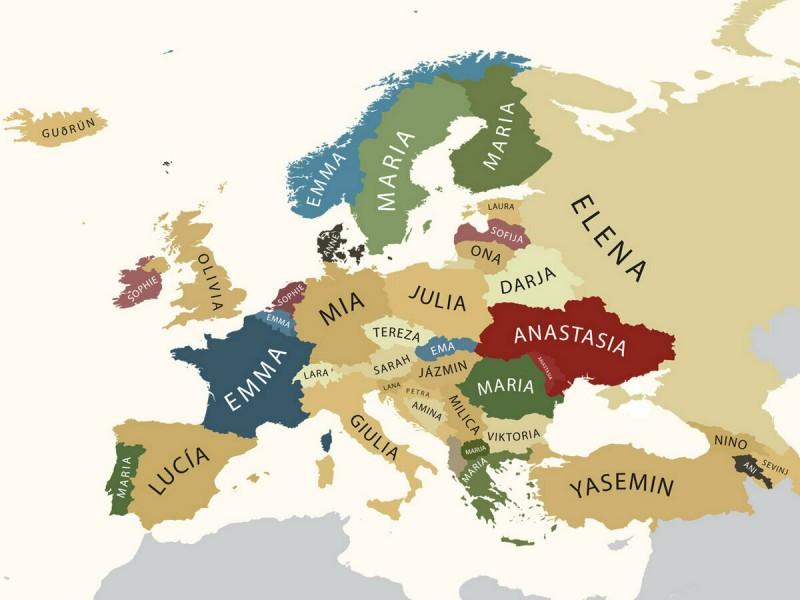 Карта самых популярных женских имен в Европе