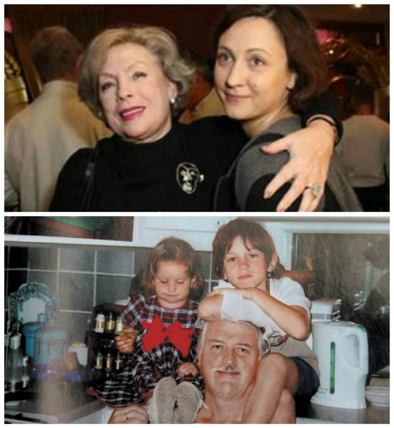 Алла Будницкая с дочерью. Ниже - Александр Орлов с внуками. Сейчас этим малышам уже 19 лет (Дарья) и 24 года (Александр).