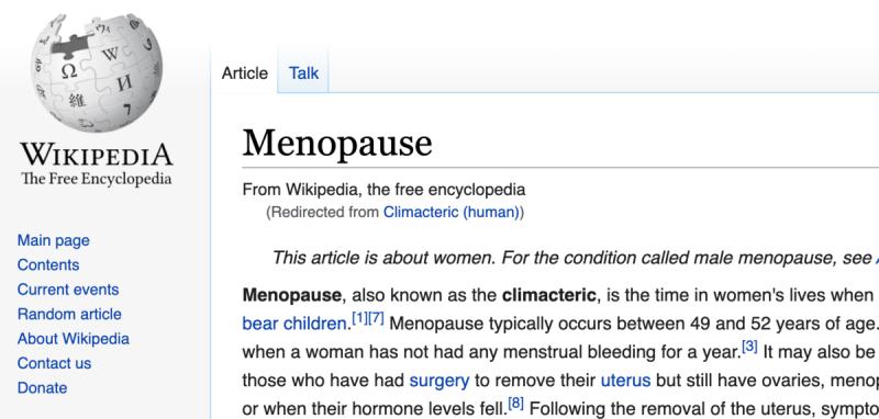 Копия начала страницы о Климаксе (англ.) из Википедии