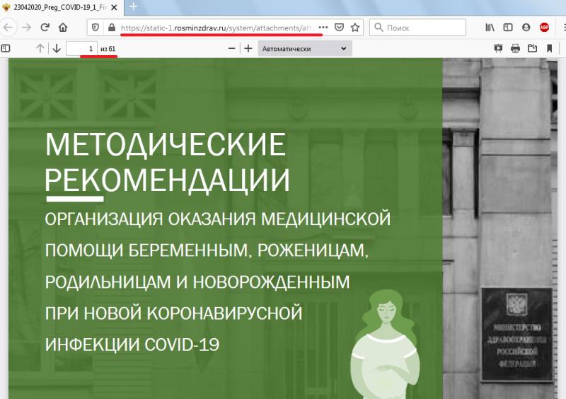 Источник скриншота: https://static-1.rosminzdrav.ru/system/attachments/attaches/000/050/093/original/23042020_Preg_COVID-19_1_Final.pdf