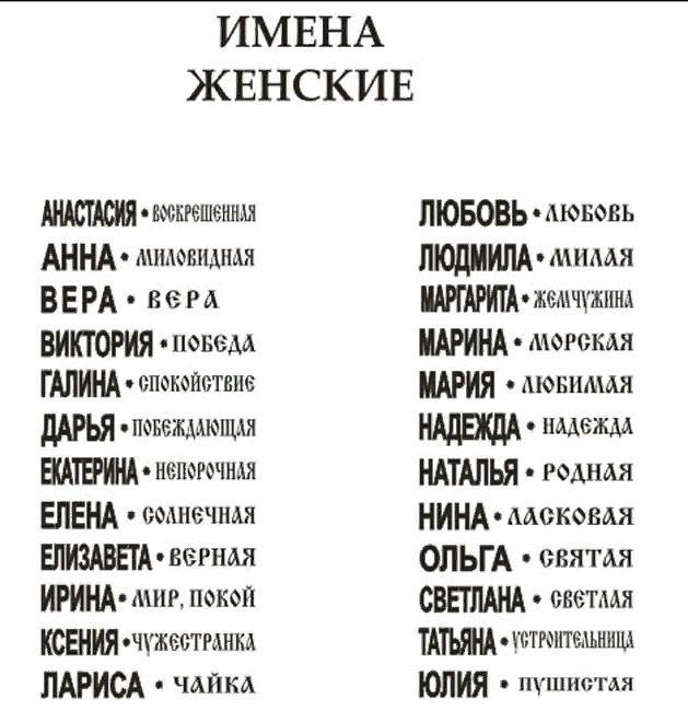 значения имён женских