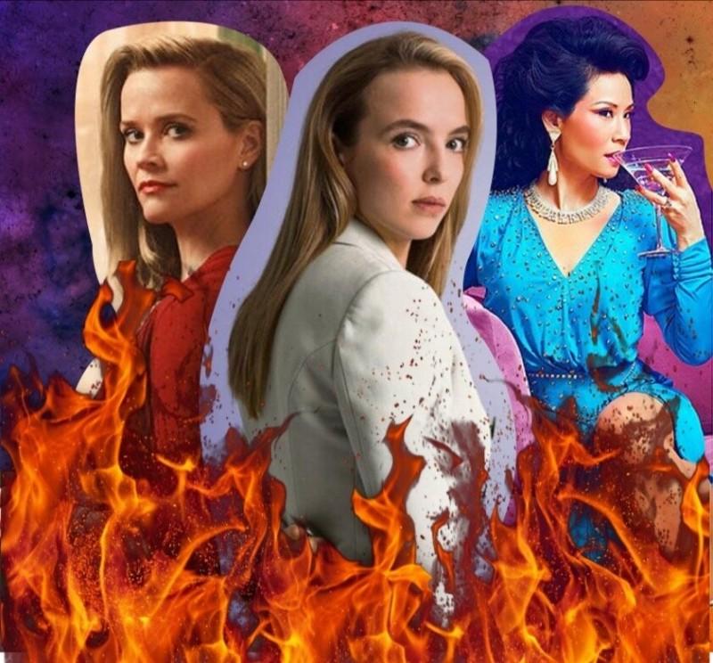 Коллаж из героинь сериалов (слева направо) «И повсюду тлеют пожары», «Убивая Еву», «Почему женщины убивают»