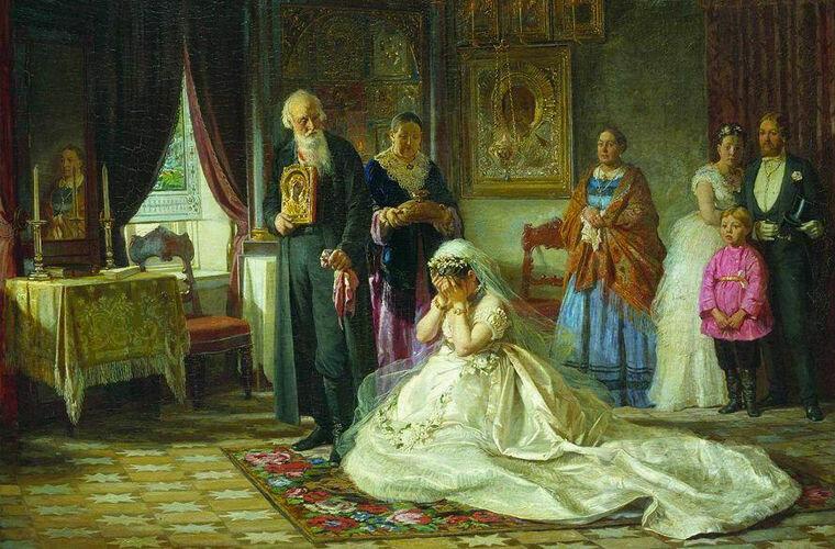 """Картина Ф. Журавлева """"Перед венцом"""", 1874 год"""