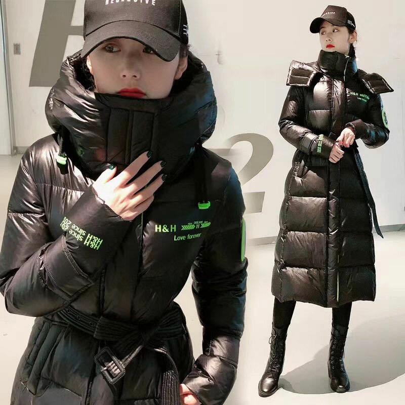 Женский пуховик средней длины, новинка 2020, модная блестящая корейская толстая зимняя куртка с Алиэкспресс обзор