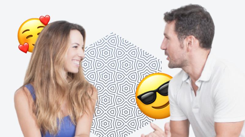 При разговоре девушка оценивает мужчину по лицу
