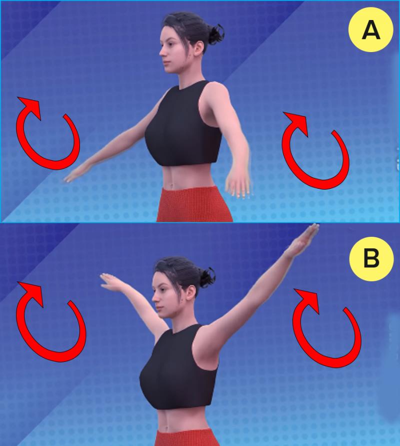 Делаем круговые движения руками, с большой амплитудой. По и против часовой стрелки