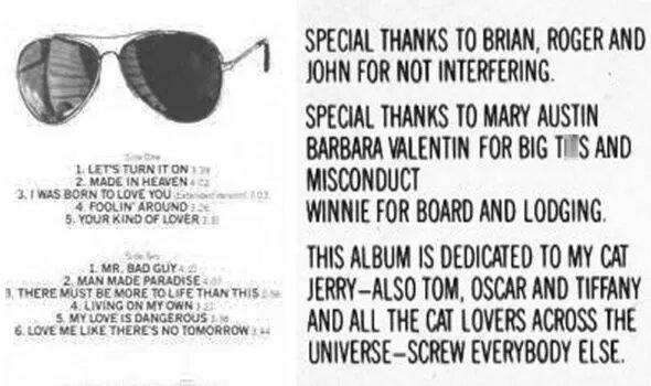 Слова благодарности  к выпуску альбома от 1985 года