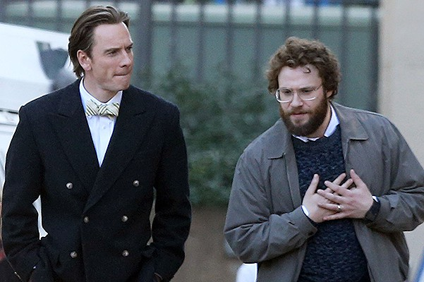 EXCLUSIVE: **PREMIUM EXCLUSIVE** Michael Fassbender and Seth Rogen film scenes for 'Steve Jobs' in Cupertino, California.